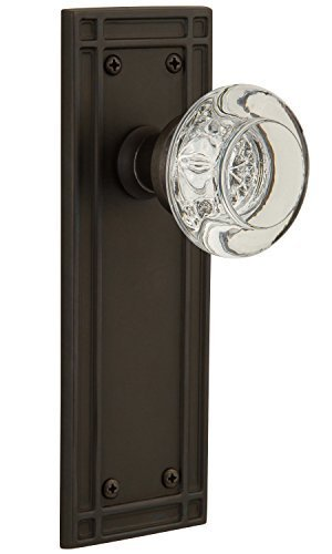Nostalgic Warehouse Mission Plate with Round Clear Crystal Knob Single Dummy Knob, Oil-Rubbed Bronze by Nostalgic Warehouse -