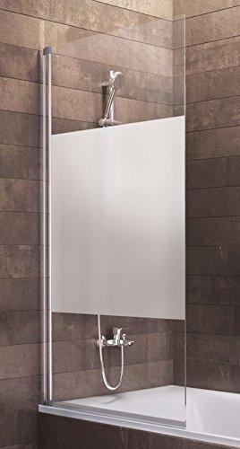 Schulte Duschwand Berlin, 70x130 cm, 5 mm Sicherheitsglas Dezent, alu-natur, Duschabtrennung für Badewanne