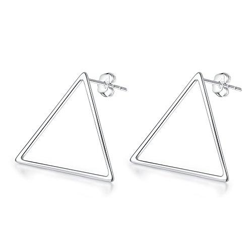 Jacqueline's TearModische und einfache Dreieck-Messing-Bolzen-Ohrringe mit 925 Sterlingsilber-Ohrring-Nadel, Schmucksachen der Frauen für Geburtstags-Geschenk (Loop-stud)