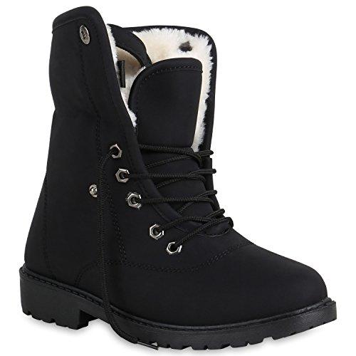 Damen Stiefeletten Warm Gefütterte Worker Boots Outdoor Schuhe | Flandell®