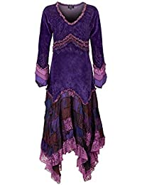 5bfb5177794c37 Wicked Dragon Long Velvet Long Sleeve Dress with Patchwork Skirt up to Plus  Size Purple