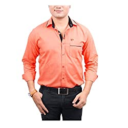 Aedi Men's Casual shirts (RED43SR_Red_S)