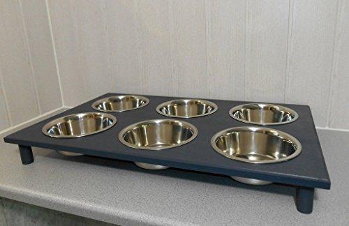 Welpenbar/ Welpennäpfe / Welpenfutter, tolle Futterbar mit 6 Edelstahlnäpfen mit je 350 ml. Handgefertigtes Hundezubehör und Tierbedarf. Lackierung in anthrazit! (S9w)