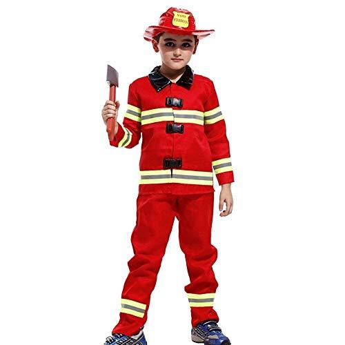Costume sam il pompiere - travestimento - carnevale - halloween - colore rosso - bambino - taglia l - 7-8 anni - idea regalo per natale e compleanno
