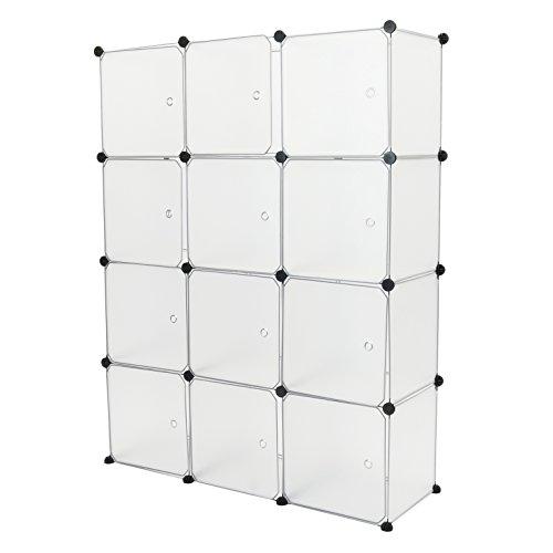 PrimeMatik - Armario organizador modular Estanterías de 12 cubos de 35x35cm plástico blanco con puertas (DY033)