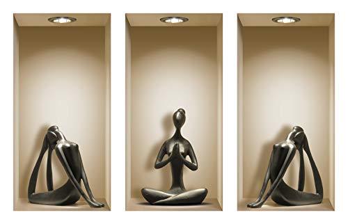 Die entfernbaren Nisha Art Magic 3D-Vinyl-Wandabziehbilder zum Selbermachen, 3er-Set, Schwarze Yoga -