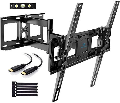 PERLESMITH TV Wandhalterung, Schwenkbare Neigbare TV Halterung für 26-55 Zoll Flach & Curved Fernseher oder Monitor bis zu 40kg, max.VESA 400x400mm