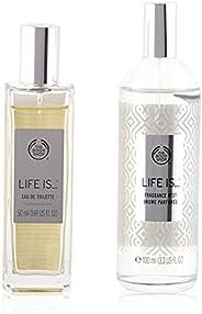 The Body Shop Life Is Set Of 4 Pieces Perfume Eau de Toilette 50ml With Shower Gel 250ml & Body Lotion 250