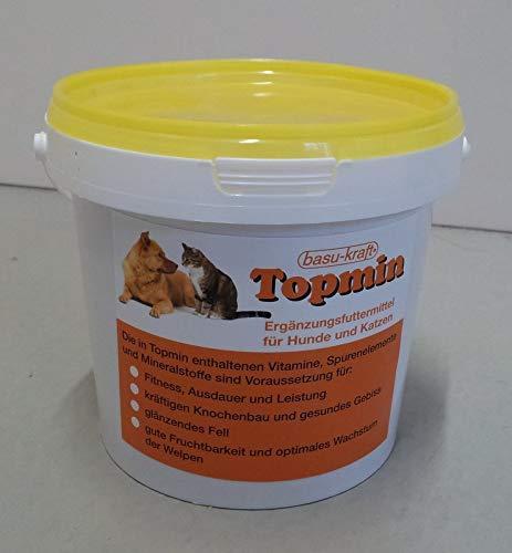 BASU Topmin vitaminisiertes Mineralfuttermittel Ergänzungsfutter für Hunde und Katzen Knochenbau 1 kg Eimer