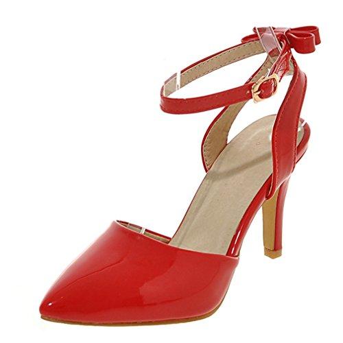 UH Femmes Sandales avec Petite Noeud Sexy Vernis Bout Pointu à Talons Moyen Aiguilles sans Plateforme de 8 CM pour Mariage et Partie Rouge