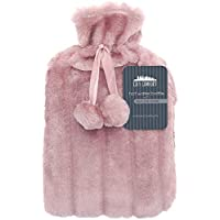 Wärmflasche mit Cosy Cover Premium Kunstfellbezug Large 2L Capacity (Rosa Prosecco)