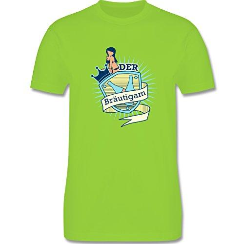 JGA Junggesellenabschied - Bräutigam Schild - Herren Premium T-Shirt Hellgrün