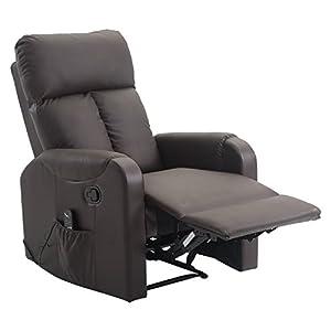 Homcom Massagesessel Relaxsessel Sessel Mit Wrmefunktion Liegefunktion Pumetall Kaffeebraun 765x96x1065cm