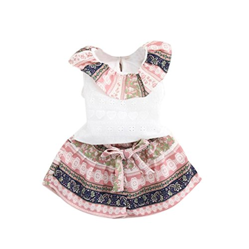 For 1-6 Years old Girls ,Clode® Fashion Toddler Kids Baby Girls Flower Print T-shirt Tops and Short Pants 2PCS Summer Outfit Set (2-3 Years old, Pink)