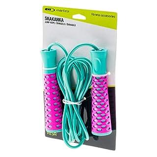 Martes Springseil Speed Jump Rupe Fitnessseil für Sport, Fitness, Training, Cardio - Erwachsene und Kinder - 300cm - Vesa, Grün/Pink