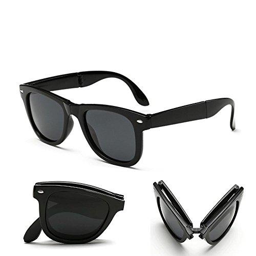 Poloport Foldable Black Frame Grey Shade Lense Folding Sunglasses FOLD