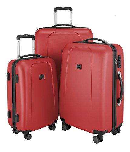 KOFFERSET Hauptstadtkoffer Hartschale Serie Wedding 42,67 und 103 Liter mit TSA in 9 verschiedenen Farben inkl. Kulturtasche (Rot)