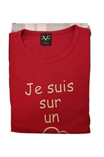 Versace 19.69 - Pigiama 08-255V per donna, 100% cotone interlook pettinato, manica lunga - BORDEAUX - L