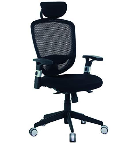 aktivshop Schreibtischstuhl ergonomischer Bürostuhl mit verstellbarer Kopfstütze Lordosenstütze & Netzbezug, 120 kg belastbar, schwarz