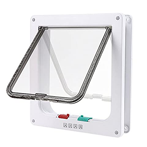 Tencro 4-Way Locking Cat Flap Small Dogs Door In & Out Safe Pet Door with Liner - Large