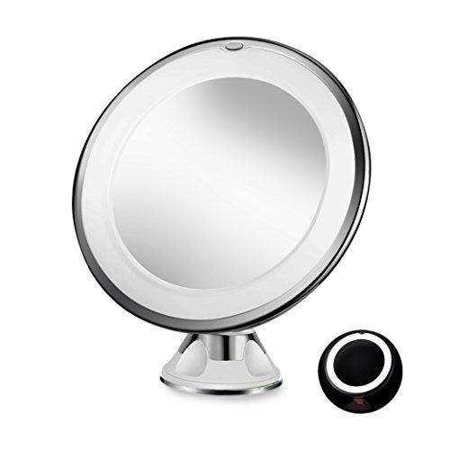 sayard 10x Lupe beleuchtet Eitelkeit Make up Spiegel mit natürlichen weiß LED, 360Grad drehbar Rotation und Sperren Saugnapf, Reisen Kosmetikspiegel