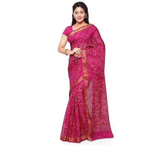 Rajnandini Women's Bandhani Printed Kota Silk Cotton Saree(JOPLSRS1052J_Pink_Free Size)
