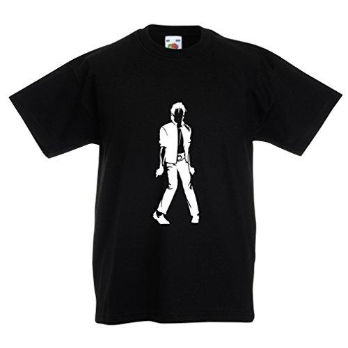 lepni.me Kinder Jungen/Mädchen T-Shirt Ich Liebe M J - King of Pop, 80er Jahre, 90er Jahre Musical Shirt, Partykleidung (5-6 years Schwarz Weiß)