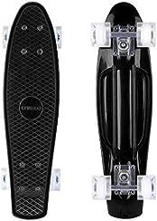 Enkeeo Fish Board Skateboard per Principiante Bambino Ragazzo Skater, Nero