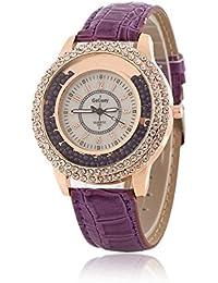 Reloj de cuarzo para mujer con correa de cuero, diseño con piedras brillantes pequeñas,