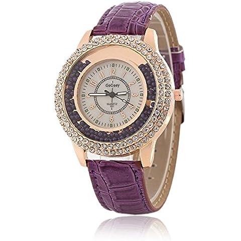 Mujeres Diseñador Reloj de cuarzo con banda de piel), color morado Ladies Rhinestone reloj de pulsera bisel de Diamond Crystal Circle–Drifting pequeñas cuentas