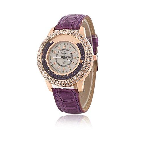 Mujeres Diseñador Reloj de cuarzo con banda de piel), color morado Ladies Rhinestone reloj de pulsera bisel de Diamond Crystal Circle–Drifting pequeñas cuentas decoración