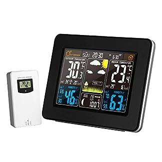 ZW El Tiempo termómetros, Estación meteorológica inalámbrica de Interior del Sensor termómetro al Aire Libre, pronóstico del higrómetro Digital Despertador Barómetro de Color