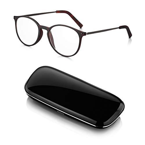 Read Optics Herren/Damen runde Lesebrille mit Etui: Vollrand-Brille in dunklem Schildpatt mit Polykarbonat-Fassung und Bügeln aus einer Stahllegierung. Klare Qualitäts-Gläser in Stärke +1,0 Dioptrien
