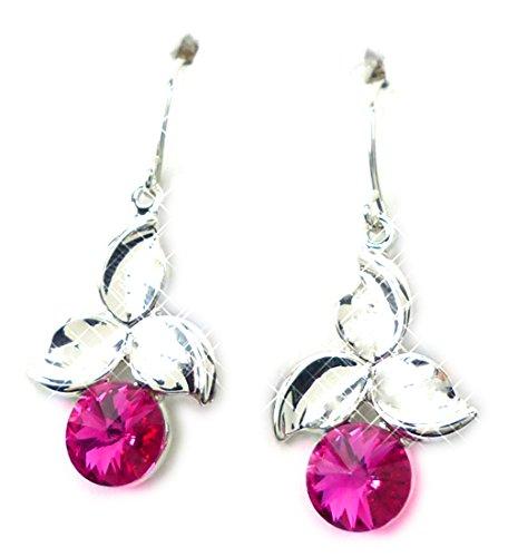 Swarovski Boucles d'oreilles 4580 Pierre Swarovski Argent haenger Boucles d'oreilles Set haut de gamme Hanging Earring Swarovski Stones Rose (Cherry)