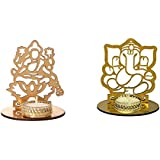 Tea Light Candle Holder Lakshmi Ganesha Set Of 2