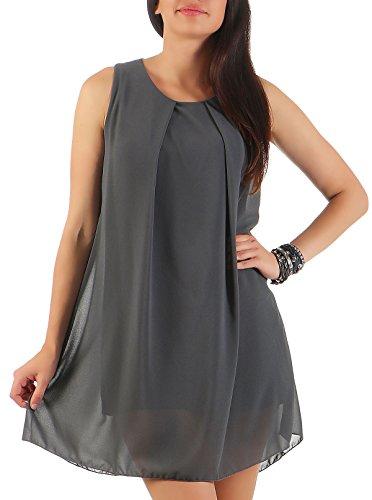 �rmellos | elegantes Minikleid | Etuikleid mit Unterkleid | Etuikleid mit Rücken Cut-Out 6877 (dunkelgrau) (Sexy Kleid Mit Stiefeln)