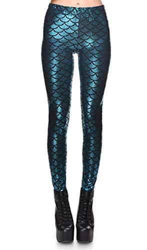 ZIOOER Damen Leggings Mermaid Meerjungfrau Glanz Leggings Fisch Schuppen Scale Glänzend Strumpfhose Hüfthose Hose Skinny Pants für Karneval Kostüm Hellblau L
