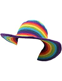 RAINBOW STRIPE CROCHET COTTON KNIT WIDE BRIM SUN HAT