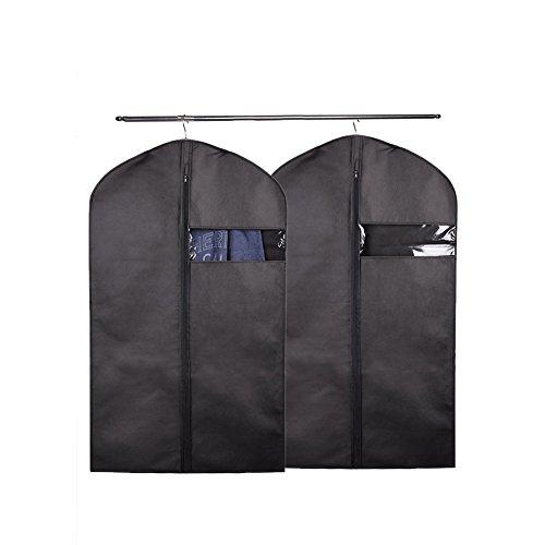 2 Schwarz Kleidersack Cherbell Polyester Kleiderhülle Kleiderschutz Aufbewahrung 120 × 60 cm