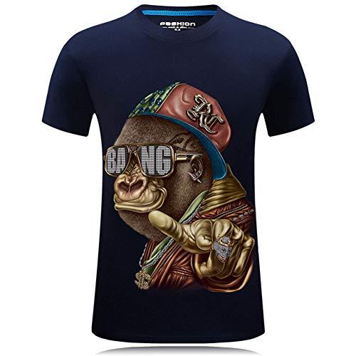 Yajun Herren T-Shirts 3D Gedruckte Hemd Kurzarm Tops Tees Sommer Freizeithemd Gedruckt Kurzen äRmel AFFE Grafik Starke HygroskopizitäT Teenager Baumwollhemden,Navy-Blue,6XL
