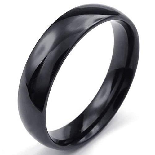 Adisaer Herren Ring Edelstahl Einfach Design Hohe Poliert Ringe Schwarz Für Männer Ring Größe 71 (22.6) (Kostüm Ringe Herr Ringgeister Der Der)