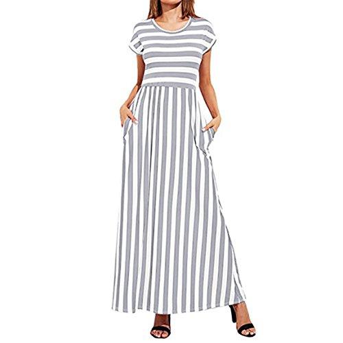 Moonuy,Kleid Damen Sommer,Langes Kleid der Frauen, Damen-Cocktailkleid, beiläufiges Kurzes Hülsen-Elastische Taillen-Gestreiftes Elegantes dünnes Maxi Kleid mit Taschen (EU 34 / Asien S, Grau) -