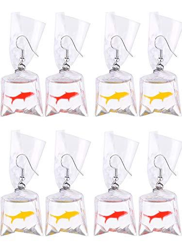 4 Paar Harz Goldfisch Ohrringe Fischwasser Tasche Ohrringe für Damen und Mädchen, Rot und Gelb (Fisch Ohrringe)