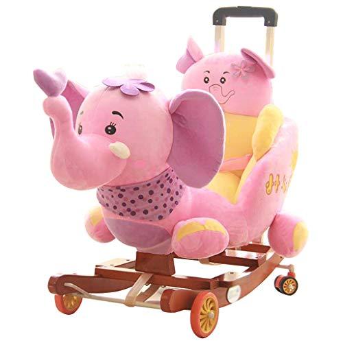 Schaukelpferd Schaukeltier Schaukelstuhl Kinder Früherziehung Musik Baby Baby Baby Schaukel Wiegen Kinder Spielzeug Geschenk 58 * 45 * 50 cm Rollsnownow (Farbe : Pink)