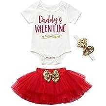 Venta caliente !Ropa para niños, FeiXiang♈Camisa de manga corta de verano de niña bebé recién nacido + vestido + falda traje de equipo de Día de San Valentín 2018 el último verano