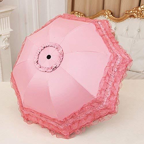 Sasan Sonnenschirm Regenschirm Lace Princess Koreanische Göttin schwarzer Kleber UV-Sonnenschutzspitze Sonnenschirm, Peach Pink - fünf Lagen Spitze Peach Pink Lace