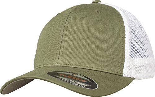 2-tone Baseball Cap (Flexfit Mesh Trucker Cap 2-Tone - Unisex Baseballcap für Damen und Herren, Farbe Buck/White, L/XL)