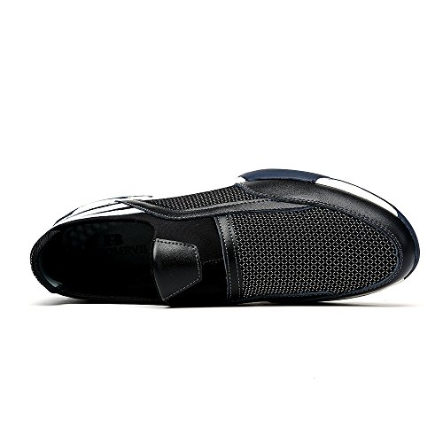 Do.BOMRVII Herren Breathable Sport-Leder-Mesh-Schuhe Slip-on Loafers Turnschuhe laufen Schwarz