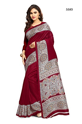 Ruchika Fashion Women\'s Bhagal Puri Silk Saree With Blouse Piece Material