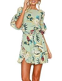 Jinglive Donna Mini Vestiti con Bende Casual Stampa Lato Foglia di Loto Vestito  da Spiaggia Rotondo Collo Mezza Manica Abito da Partito Festa… d60992baf38